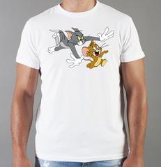 Футболка с принтом мультфильма Tom and Jerry (Том и Джерри), белая 003