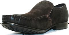 Теплые мокасины коричневые мужские зимние Welfare 555841 Dark Brown Nubuk & Fur.