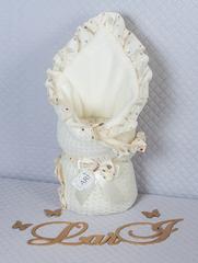 Вязаный конверт одеяло Ажур (кремовый)