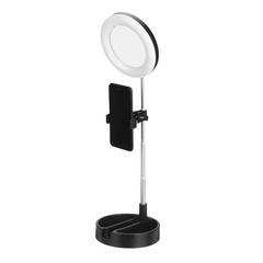 Косметическое зеркало с кольцевой лампой подсветкой Live makeup multipurpose desk lamp G3 (Черное)