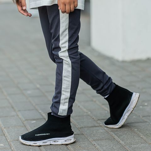 Leggings with stripes for teens - Graphite