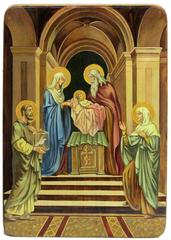 Живописная икона Сретение Господа нашего Иисуса Христа 42х29см на кипарисе в березовом киоте