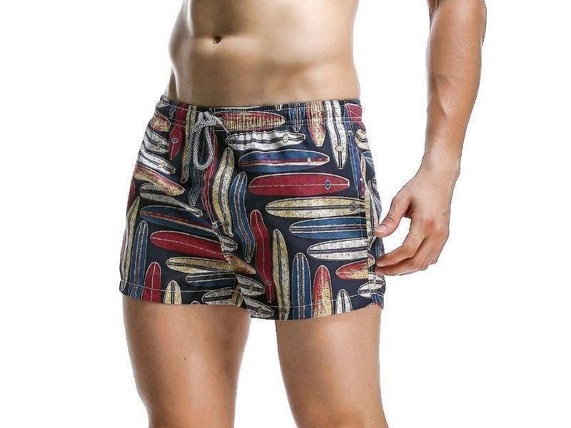 Мужские пляжные шорты черные с принтом SEOBEAN 34719
