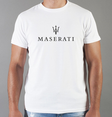 Футболка с принтом Мазерати (Maserati) белая 004