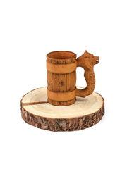 Кружка деревянная пивная с резной ручкой «Медведь» 0,5 л, фото 3