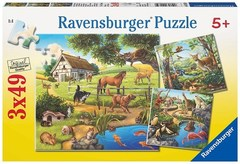 Puzzle пазлы Wald-/Zoo-/Haustiere 3x49 pcs