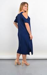 Ніла. Довга сукня з вирізами на плечах. Синій.