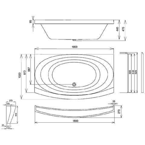 Ванна акриловая Ravak Evolution 180x102 C101000000 схема
