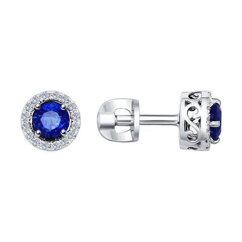 2020843 - Серьги-пусеты из белого золота с бриллиантами и сапфирами