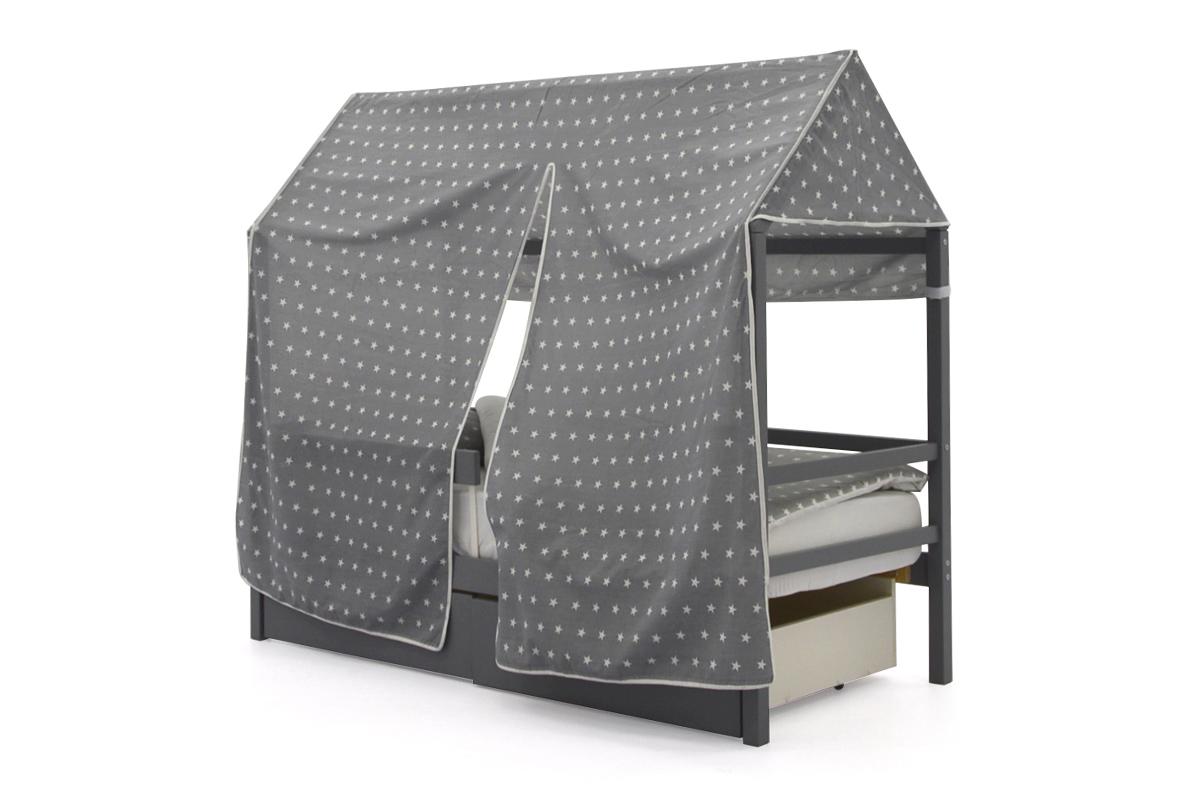 """Крыша текстильная для кровати-домика Svogen """"звезды, фон графит"""""""