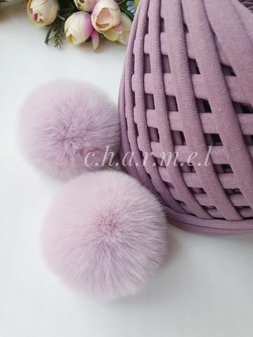 Помпон из натурального меха, Кролик, 5-6 см, цвет Нежно лиловый, 2 штуки