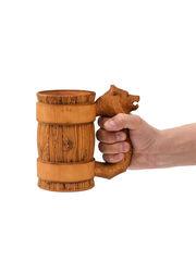 Кружка деревянная пивная с резной ручкой «Медведь» 0,5 л, фото 5