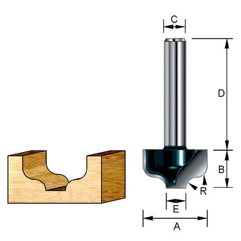 Фреза пазовая фасонная S-образная 12,7х32х9,5х8х4,76 мм; R=1,98 мм
