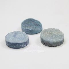 Кабошон круглый Кварц с друзой голубой (тониров), 14 мм