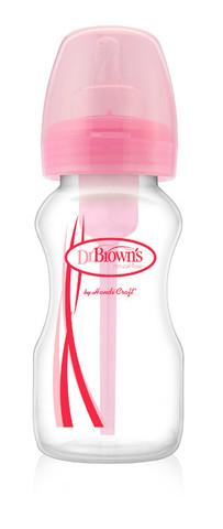 Бутылочка противоколик. с широким горлышком, розовая,  270 мл. (стандарт)