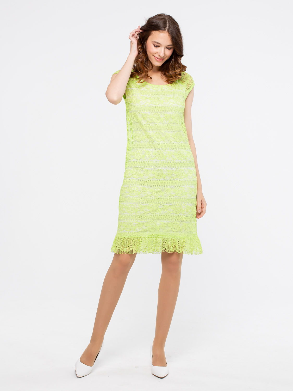 Платье З018-612 - Летнее, яркое платье из мягкого, пластичного кружева на трикотажной подкладке. Спущенная линия плеча, по низу присборенный волан придающий легкости и игривости образу. Прекрасно подойдет для летнего отдыха, свидания или встрече с друзьями- в любой ситуации вы будете чувствовать себя неотразимо.