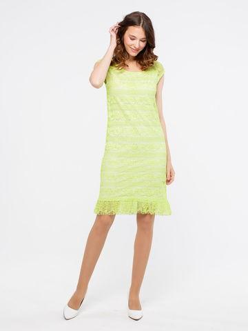 Фото салатовое кружевное платье прямого кроя с воланом - Платье З018-612 (1)