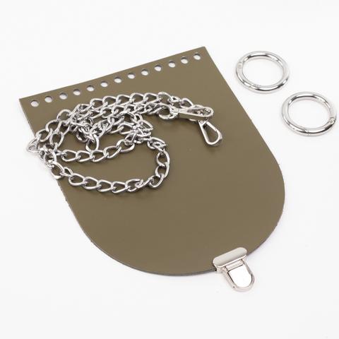 """Комплект для сумочки Орео """"Хаки"""". Цепочка и замок """"Малыш"""""""