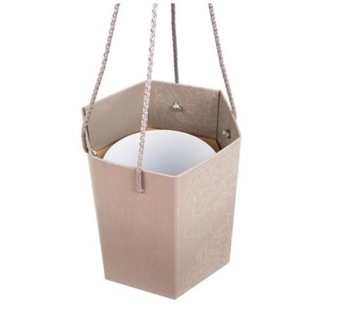Коробка-ваза с пластиковой вставкой 25х25х27см L Цвет:графит
