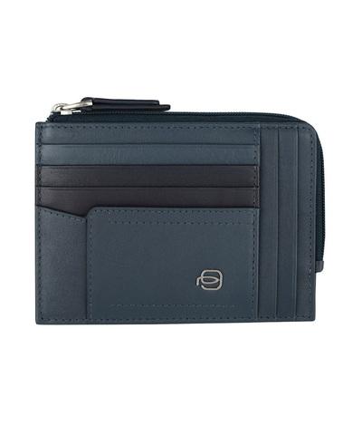 Чехол для кредитных карт Piquadro W82, синий, 8 отделений, 12,5x9x1 см
