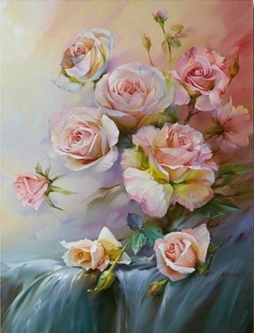 Алмазная Мозаика 30x40 Кустовая роза в пастельных тонах (арт. FEG70257)
