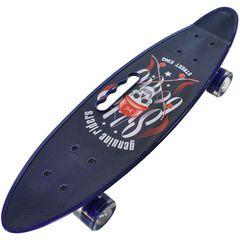 Скейтборд Граффити со светящимися колесами синий с черепом