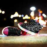 Светящиеся кроссовки с крыльями с USB зарядкой Бебексия (BEIBEIXIA), цвет черный розовый, светится вся подошва. Изображение 2 из 20.