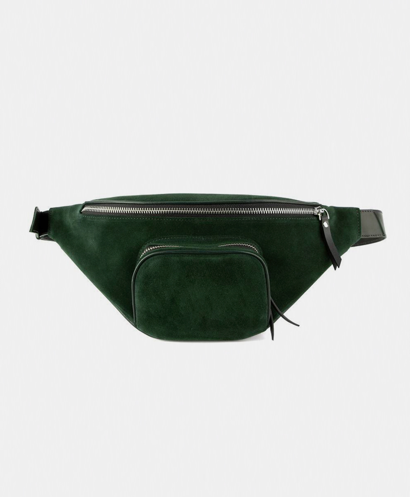 Поясная сумка из замши зелёного цвета