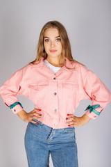 джинсовая куртка розовая женская nadya