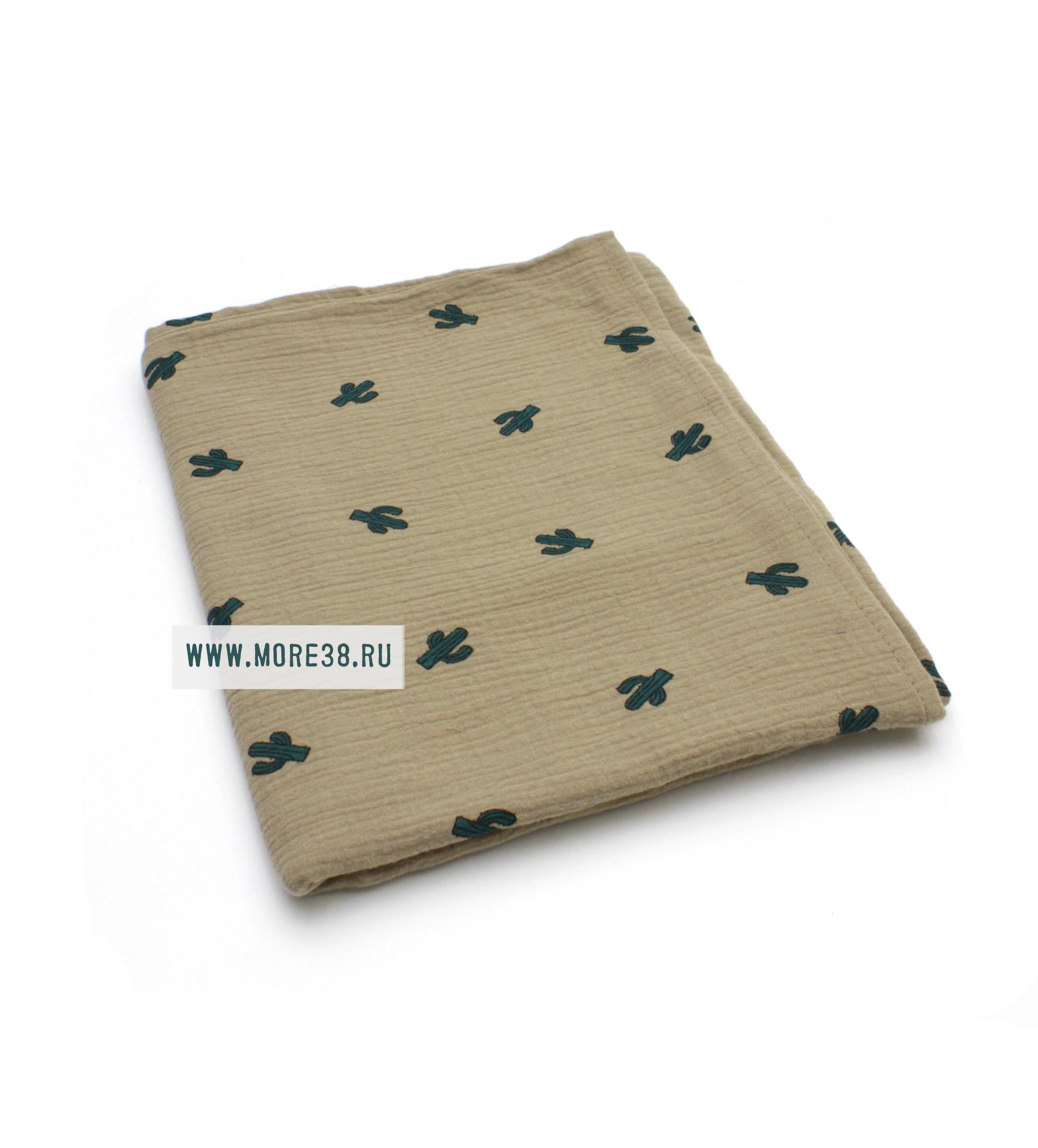 Муслиновая пеленка-кактусы на хаки (100х130см)