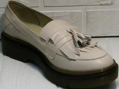 Осенние закрытые туфли лоферы женские Markos S-6 Light Beige.