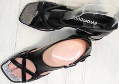 Открытые босоножки сандалии с тонкими ремешками женские Evromoda 166606 Black Leather.