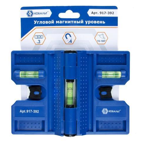 Уровень строительный КОБАЛЬТ угловой, 4 магнита, 3 глазка, точность 0,57 мм/м, пластиковый