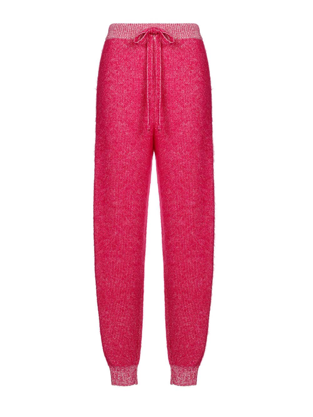 Женские брюки розового цвета из мохера и кашемира - фото 1