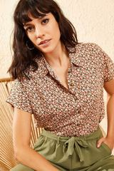 Small floral beige shirt for women 10081046