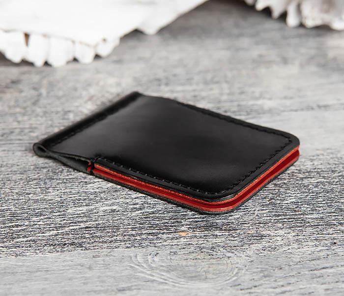 WB172-1 Зажим для купюр из кожи черного и красного цветов фото 03