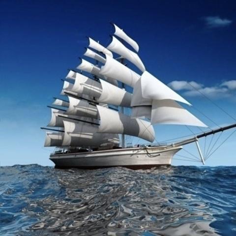 Алмазная Мозаика 40x50 Белоснежные паруса в море (арт. S032 )