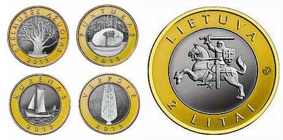 """Набор из 4 монет 2 лита """"Создано человеком и природой"""" 2013 год"""