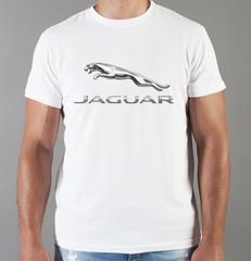Футболка с принтом Ягуар (Jaguar) белая 006