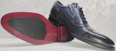 Деловые туфли мужские модные Ikoc 3805-4 Ash Blue Leather.