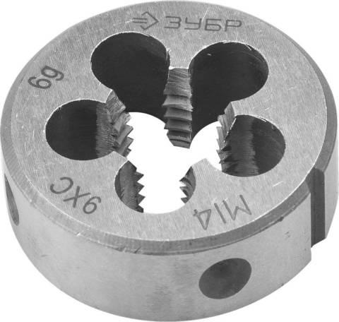 ЗУБР М14x1.5мм, плашка, сталь 9ХС, круглая ручная