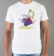 Футболка с принтом мультфильма Алиса в стране чудес, Белый Кролик (Alice's Adventures in Wonderland) белая 003