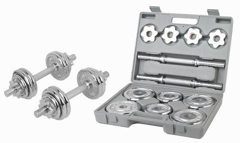 Набор разборных хромированных гантелей 2 по 7,5 кг в кейсе 4508CD (37699)