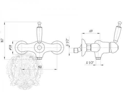 Смеситель для душа  Migliore Oxford ML.OXF-6338 схема