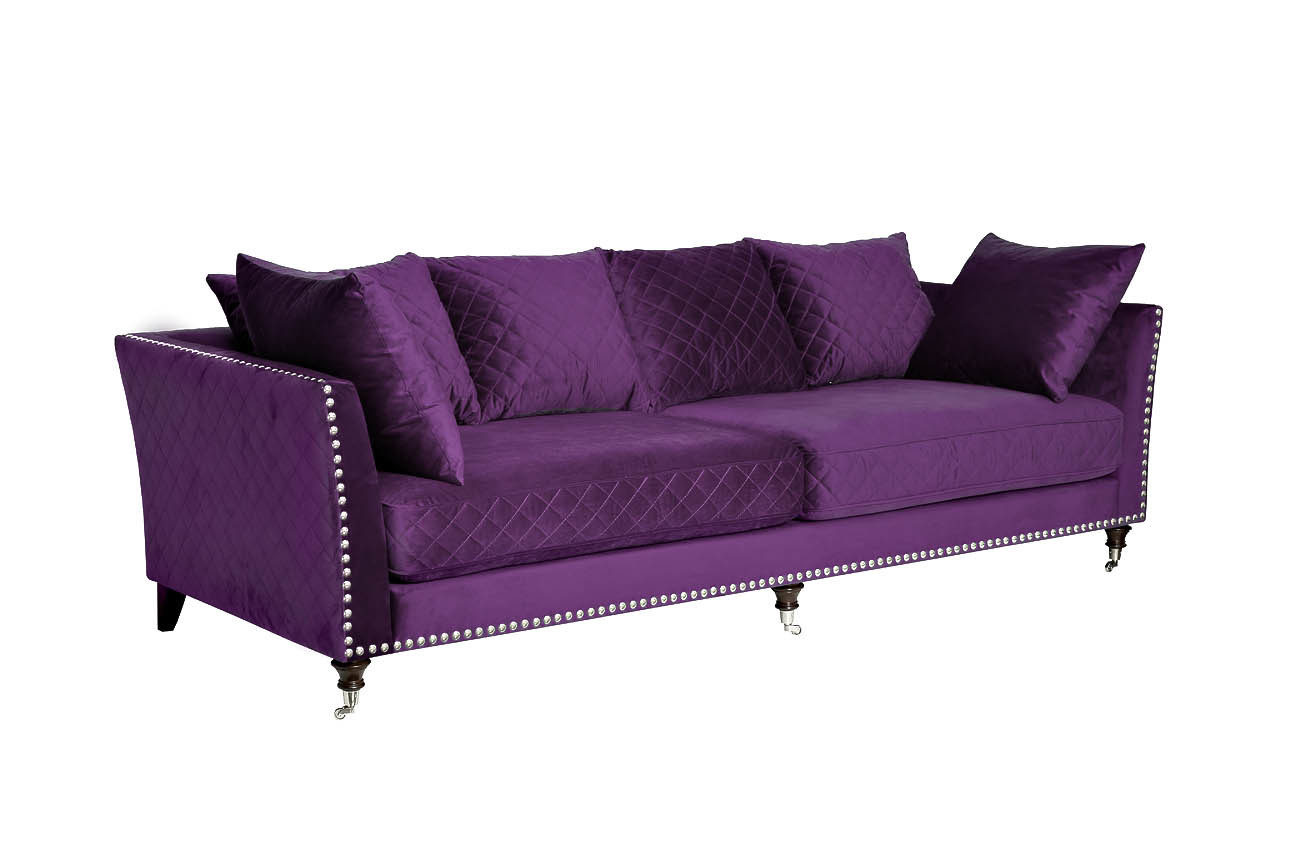 Диван Sorrento трехместный велюровый фиолетовый (SORRENTO2K-ФИОЛ-Р РѕРј98) Garda Decor