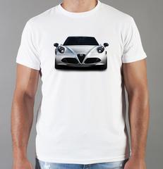 Футболка с принтом Альфа Ромео (Alfa Romeo) белая 002