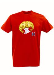 Футболка с принтом Знаки Зодиака, Рыбы (Гороскоп, horoscope) красная 001