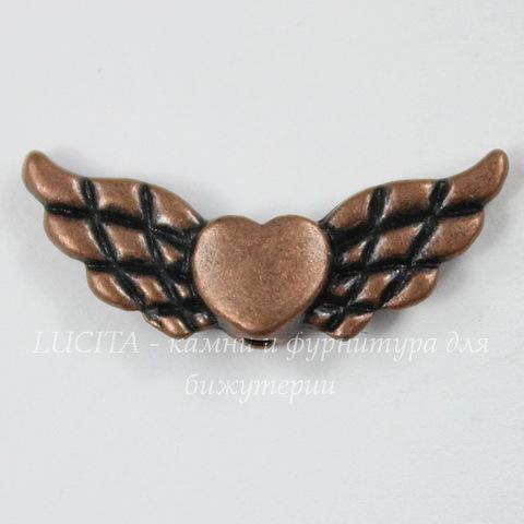 """Бусина металлическая """"Сердце с крыльями"""" 22х9 мм (цвет - античная медь)"""