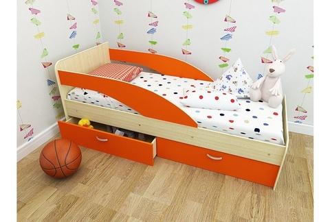 Кровать Антошка млечный дуб/ оранж