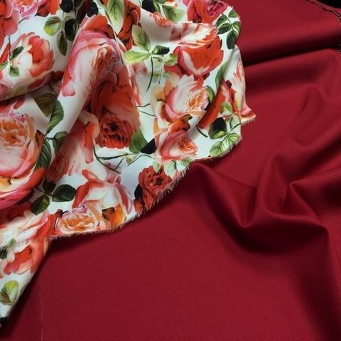 Ткань шерсть сатин красный цвет 3080